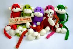 Familia, peluche, Año Nuevo, mono, divertido Fotos de archivo