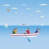 Familia por el barco Vacaciones de familia Foto de archivo libre de regalías