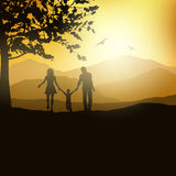 Familia que camina en el campo libre illustration