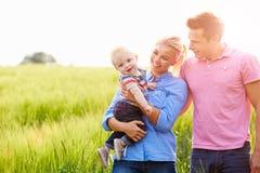 Familia que camina en el campo que lleva al hijo joven del bebé Foto de archivo libre de regalías