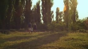 Familia que camina en parque en puesta del sol Salga de cámara almacen de video