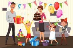 Familia que celebra el ejemplo del cumpleaños en casa ilustración del vector