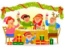 Familia que celebra la Navidad ilustración del vector