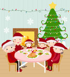 Familia que cena la Navidad feliz stock de ilustración