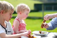 Familia que come la carne asada a la parrilla en el jardín Fotos de archivo