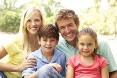 Familia que disfruta de día en parque Imagen de archivo