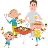 Familia que goza de la barbacoa al aire libre ilustración del vector