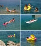 Familia que goza en el mar azul (collage) Fotografía de archivo