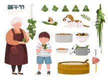 Familia que hace las bolas de masa hervida del arroz libre illustration