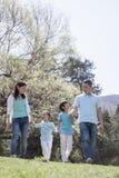 Familia que lleva a cabo las manos, caminando en parque. Fotos de archivo