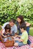 Familia que merienda en el campo en el jardín Fotografía de archivo