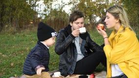 Familia que merienda en el campo en el parque almacen de metraje de vídeo