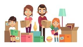 Familia que mueve el nuevo hogar Gente feliz que embala desempaquetando el paquete de la cartulina de las cajas para entregar la  ilustración del vector