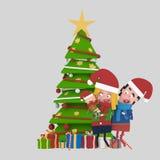Familia que presenta cerca del árbol de navidad 3d Fotografía de archivo libre de regalías