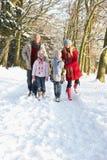 Familia que recorre a través del arbolado Nevado foto de archivo libre de regalías