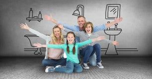 Familia que se divierte con el dibujo del cuarto de baño Imagen de archivo libre de regalías