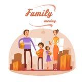 Familia que se mueve en el ejemplo de la historieta stock de ilustración
