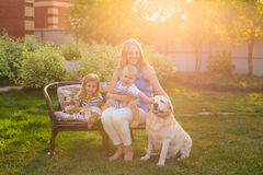 Familia que se relaja en jardín con el perro casero foto de archivo libre de regalías