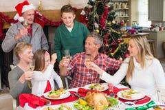 Familia que se tuesta en la Navidad Imagen de archivo libre de regalías