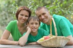 Familia que tiene comida campestre en parque del verano Foto de archivo libre de regalías