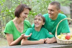 Familia que tiene comida campestre en parque del verano Imagenes de archivo