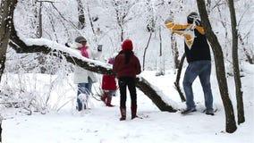 Familia que tiene lucha de la bola de nieve almacen de metraje de vídeo