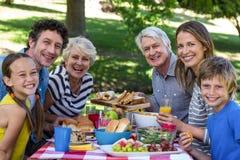 Familia que tiene una comida campestre Fotos de archivo