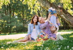 Familia que tiene una comida campestre en el parque Fotografía de archivo libre de regalías