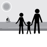 Familia que tiene vacaciones en la costa Figura fondo del palillo Ilustración del Vector