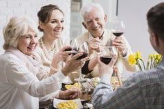 Familia que tuesta las copas de vino fotografía de archivo libre de regalías