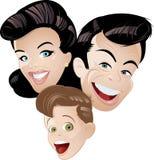 Familia retra de la animación Imagen de archivo libre de regalías