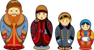 Familia rusa nacional del ruso de las muñecas de la jerarquización Foto de archivo libre de regalías