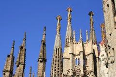 Familia sagrada. Steeples of the familia sagrada in Barcelona, Spain Stock Photo