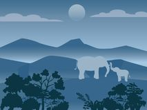 Familia salvaje de los elefantes en el bosque, imagen del vector stock de ilustración