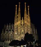 Familia santa en la noche Barcelona España Imagenes de archivo