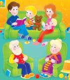 Familia sobre horas del ocio stock de ilustración
