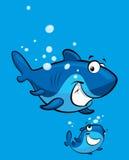 Familia sonriente del tiburón de la historieta Foto de archivo libre de regalías