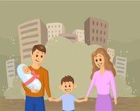 Familia sonriente joven con los niños en fondo polvoriento de la ciudad Problemas sociales, guerra, inmigración, ecología Vector  ilustración del vector
