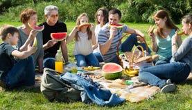 Familia sonriente que se sienta y que habla en comida campestre Foto de archivo