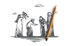 Familia, tiempo de la familia, día de fiesta, concepto árabe Vector aislado dibujado mano stock de ilustración