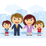 Familia unida por la mano stock de ilustración