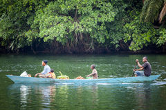 Familia usando la manera tradicional de transporte en Ghana, África Fotos de archivo