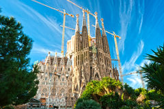 Familia van La sagrada, Barcelona, Spanje. Stock Foto