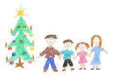 Familia y árbol de navidad Foto de archivo