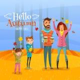 Familia y Autumn Season Illustration Foto de archivo libre de regalías