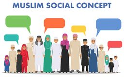 Familia y concepto social Agrupe los niños árabes musulmanes que se unen y la burbuja del discurso en diverso tradicional ilustración del vector