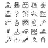 Familia y línea casera iconos ilustración del vector