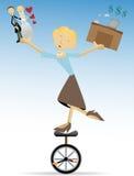 Familia y trabajo de equilibrio de la mujer, amor y dinero Foto de archivo libre de regalías