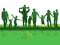 Familias activas al aire libre stock de ilustración