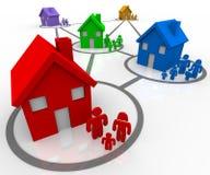 Familias conectadas en vecindades ilustración del vector